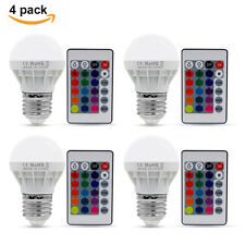 4Pcs X 3W E27 16 Color Change RGB LED Light Bulb Globe Lamp With Remote Control