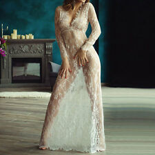 Cocktailkleid Abendkleid Transparent Geblümt Spitze V-Ausschnitt Langarm Maxi