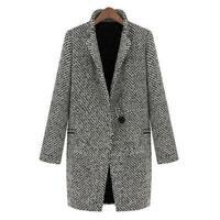 Hot Women Large Lapel Jacket One-Button Long Parka Coat Trench Outwear S M L XL