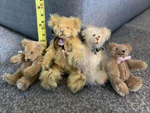 Artist Miniature Lot 4  Jointed Mohair Teddy Bears 1 Tush Tag  Sooo Cute!