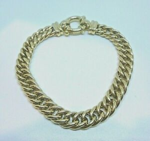 10CT Yellow Gold Curb Link With Euro Clip Bracelet