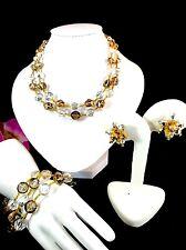 DAZZLING VENDOME GOLD CRYSTAL BEAD 2 STRAND NECKLACE BRACELET CLIP EARRINGS SET