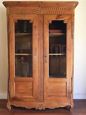 Antique French Large Walnut Bookcase Display Cabinet Marquetry - DL096