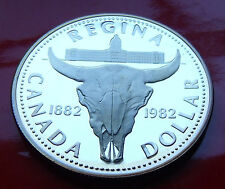 SUPERB PROOF SILVER DOLLAR GEM 1982 CANADA CENTENNIAL SILVER REGINA SET ISSUED