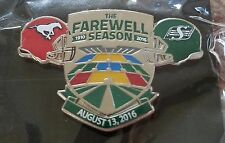 CFL SASKATCHEWAN ROUGHRIDERS 2016 FAREWELL SEASON CALGARY STAMPEDERS LAPEL PIN