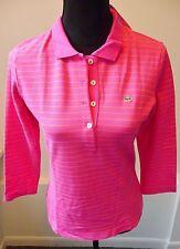 Lacoste NWT Catamaran Hot Pink Stripe 3/4 Sleeve Polo Tee Shirt Size 40 8 $95