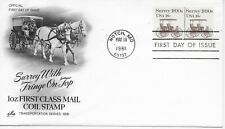 US Scott #1907, First Day Cover 5/18/81 Notch Plate #1 Pair Surrey