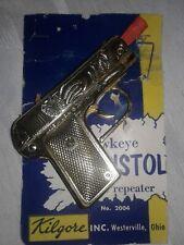 Vintage 1950's Kilgore Hawkeye  Gold Plated Cap Gun With Original Package