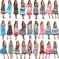 Ladies 100% Cotton Summer Beach Sun Dress Size 8 10 12 14 16 18 20 22 NEW