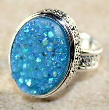SILVER Vintage Style Sky Blue Rainbow Titanium Druzy 15x20mm Ring Size 7