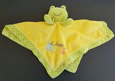 Carters Yellow Green Polka Dot Frog I Love Hugs Plush Lovey Security Blanket