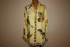 Couture Vintage OOAK Women's Butterfly Monarch Button Up Shirt Long Yellow BOHO