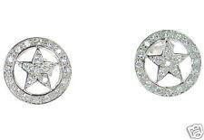 Solid 925 Sterling Silver Pentagram Star CZ Earrings '
