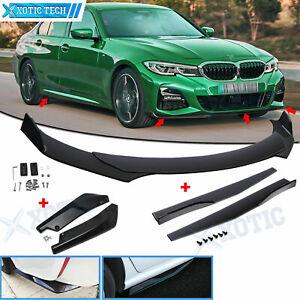 Car Front Rear Bumper Lip Spoiler Splitter Extension + Side Skirt Kit for BMW