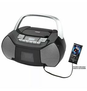 NAXA Electronics NPB-268 Portable CD/Cassette Boombox Silver/Black