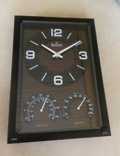 Bulova Black Finish Wall Clock with Thermometer Hygrometer C3732 Brand New!