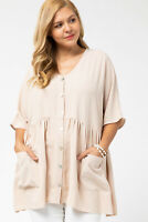 Entro Beige Short Sleeve V-Neck Tunic Top Plus Size XL 1XL 2XL