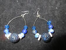 Crystal Bright Blue Beaded Chic Statement Hoop Earrings Hand-Crafted Rhinestone