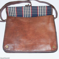 Heathbold personalised handmade brown leather satchel messenger laptop bag. XL