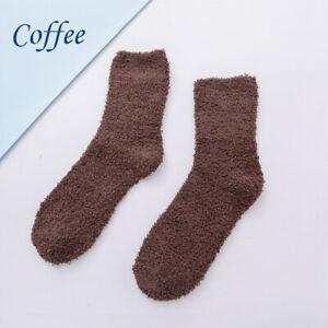 1Pair Women Girls Floor Socks Fluffy Long Socks Coral Fleece Casual Solid Warm