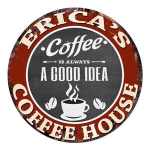 CPCH-0169 ERICA'S COFFEE HOUSE Chic Tin Sign Decor Gift Ideas