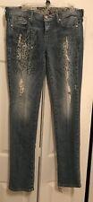 GUESS Daredevil Starlit Embellished Distressed Jeans Sz 31 Lmt Ed $168