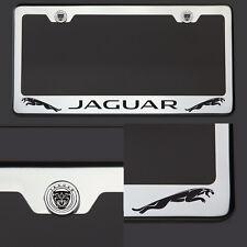 Chrome T304 SS License Plate Frame Tag Jaguar Black Letter Laser Etched Engraved