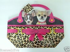 VOILA LEOPARD CHIHUAHUA GIFT PAPER BAG LEOPARD TAG FREE USA SHIP BRAND NEW