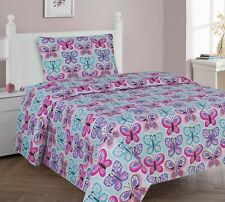 Butterflies Pink Blue White Purple Printed Sheet Set Girls / Kids/ Teens