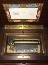 Vintage Reuge 3/72 Note Music Box Cartel Three Airs Switzerland Sainte-Croix