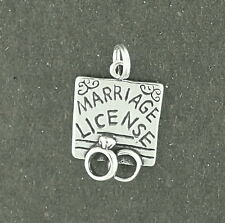 Marriage License Pendant Sterling Silver Wedding Rings Comes on Split Ring