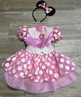 Disney Minnie Mouse Dress Up Princess Costume & Ears Pink Polka Dot 2T S GUC E1