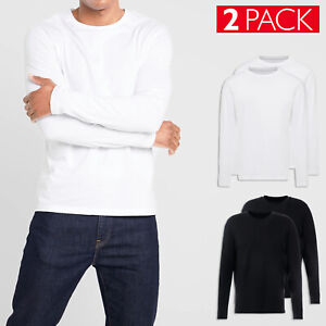 2 Pack T-shirt Uomo Cotone Leggero Manica Lunga Maglia Elasticizzata Slim VEQUE