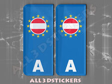 2x3D Sticker Resin Domed Euro AUSTRIA Number Plate with Flag Car Badge Adhesive