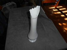 White Milk Glass Hobnail Stretch Vase - 19' Tall