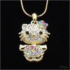 Hello Kitty Rhinestone Necklace Chain Pendant Crystal Multi-color Gold Tone 3D