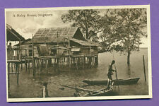 SINGAPORE A MALAY HOUSE VINTAGE POSTCARD  (2428)