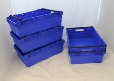 5 New Blue/Black SOLID Stack Removal Storage Crate Box Container 35L