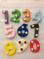 Edible sugarpaste large numbers - cake topper x 6