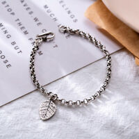 Retro Woman Real s925 Sterling Silver Leaf Rolo Chain Bracelet Bangle