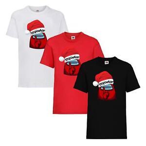 Adults Kids Among Us T-shirt Impostor Crewmate Gaming Christmas Tee Xmas Gift