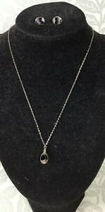 Blue Stone Derbyshire Necklace & Matching Earrings Silver Mount