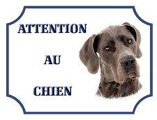 """Plaque Alu 15x20cm """"Attention au chien"""" Dogue Allemand"""