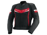 iXS Motorradjacke Rockford | Schwarz-Rot-Weiß | Jacke aus Leder und Textilgewebe