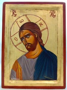 JESUS CHRIST Greek Orthodox Hand Painted icon on wood - FREE EXPRESS SHIPPING!