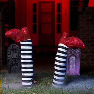 Pair of Witch Striped Leg Heel Halloween Party Decor Outdoor Scary Prank Props