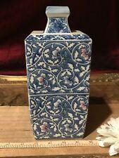 "Asian Porcelain Square Blue & White Vase w/ Pink Floral Design 8 7/8""x4"" Marked"