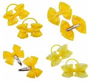 Golden yellow organza/grosgrain ribbon hair bow/accessories, school hair bows