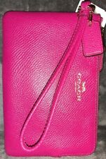 Authentic Coach 54626💥NWT💥Pink Ruby w Gold Corner Zip Leather Wristlet MSRP$75