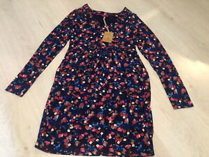 BNWT Joules Navy Lizzie Petal Floral Pront V Neck L/S Tunic Dress 8 Pockets